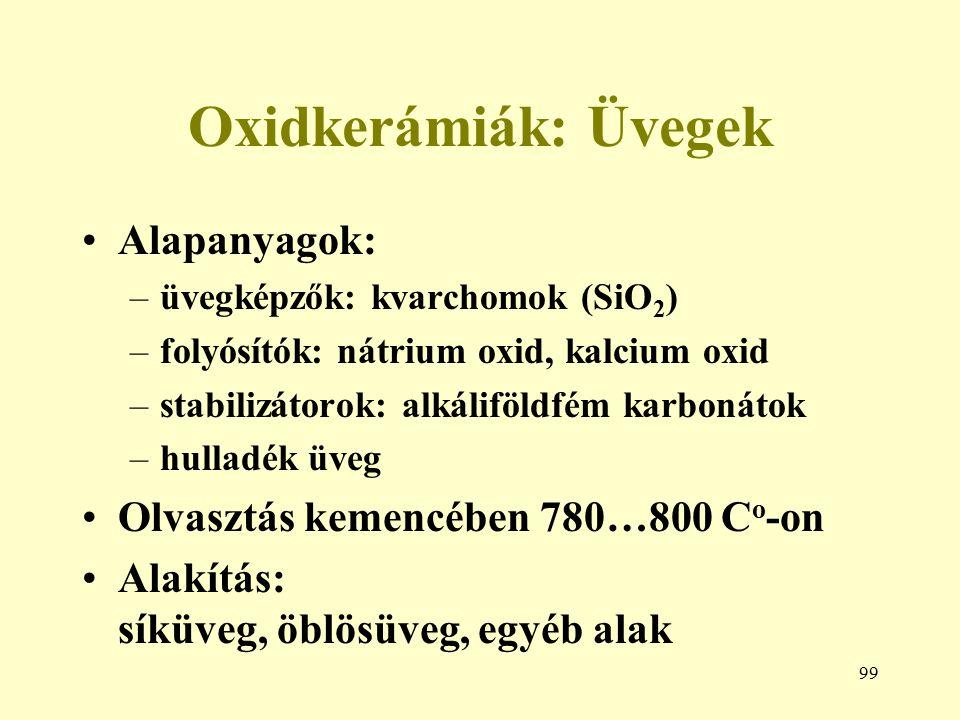 99 Oxidkerámiák: Üvegek Alapanyagok: –üvegképzők: kvarchomok (SiO 2 ) –folyósítók: nátrium oxid, kalcium oxid –stabilizátorok: alkáliföldfém karbonáto