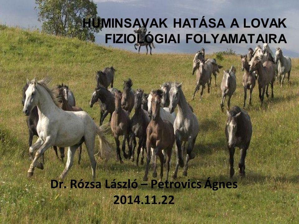 HUMINSAVAK HATÁSA A LOVAK FIZIOLÓGIAI FOLYAMATAIRA Dr. Rózsa László – Petrovics Ágnes 2014.11.22