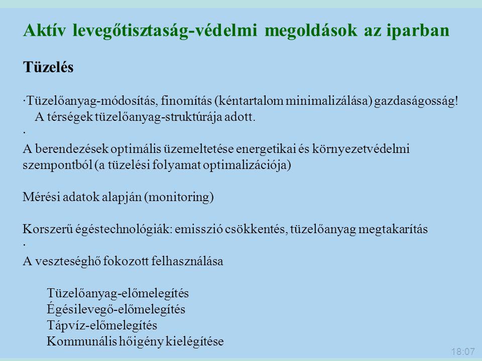 18:09 Aktív levegőtisztaság-védelmi megoldások az iparban Tüzelés ·Tüzelőanyag-módosítás, finomítás (kéntartalom minimalizálása) gazdaságosság! A térs