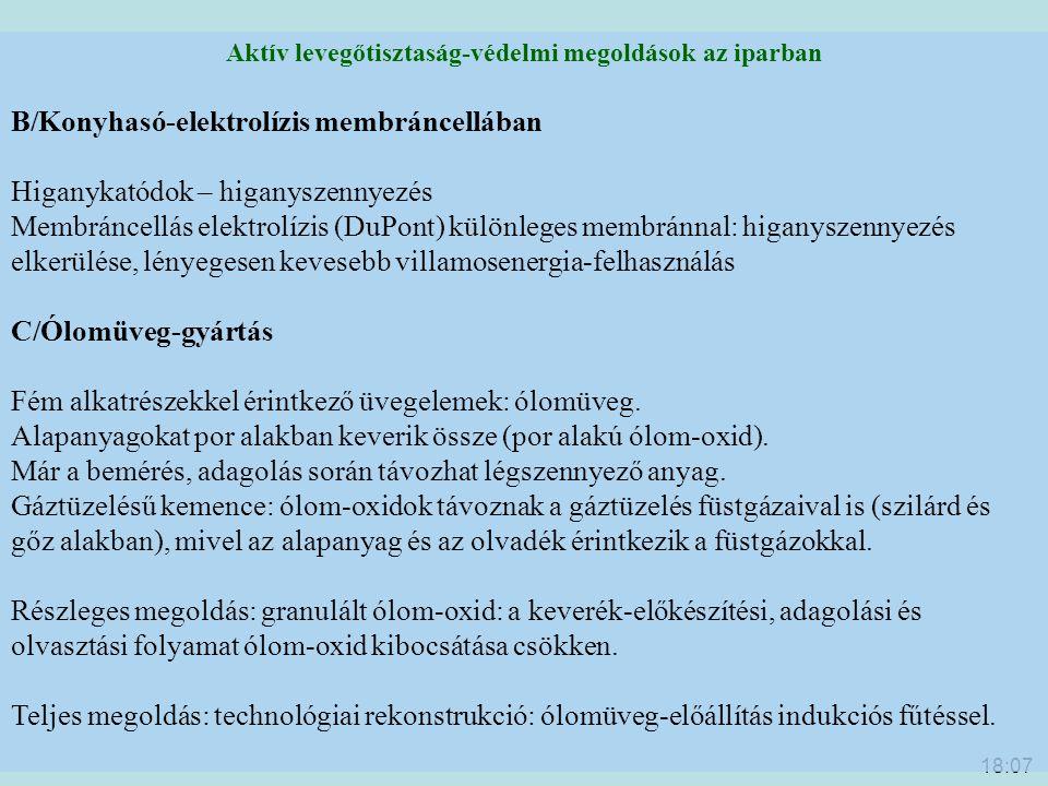 18:09 Aktív levegőtisztaság-védelmi megoldások az iparban B/Konyhasó-elektrolízis membráncellában Higanykatódok – higanyszennyezés Membráncellás elekt