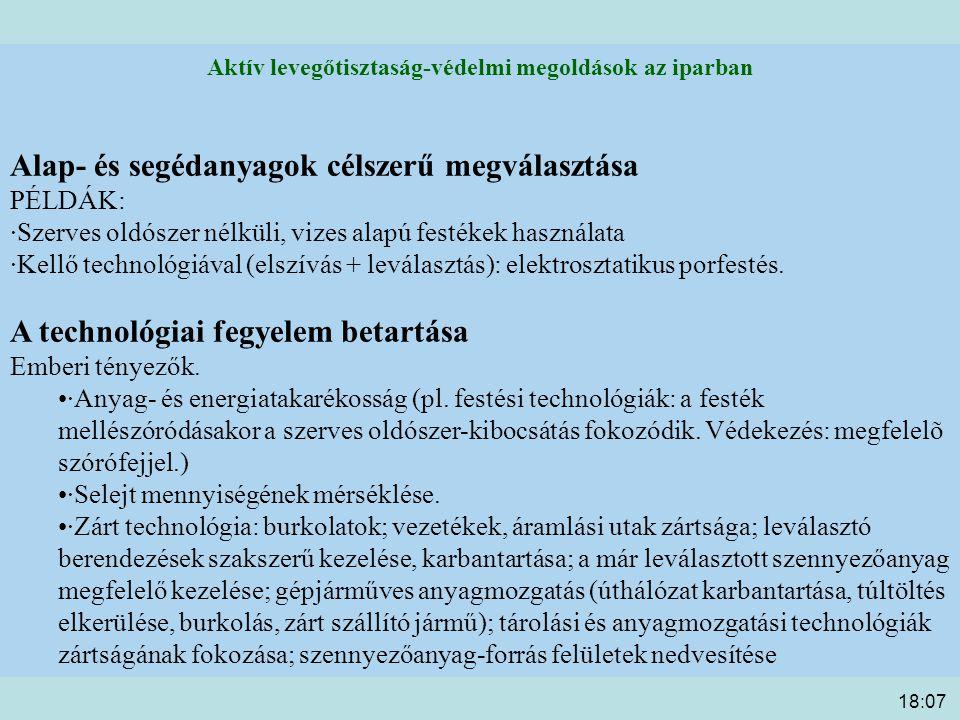 18:09 Aktív levegőtisztaság-védelmi megoldások az iparban Alap- és segédanyagok célszerű megválasztása PÉLDÁK: ·Szerves oldószer nélküli, vizes alapú