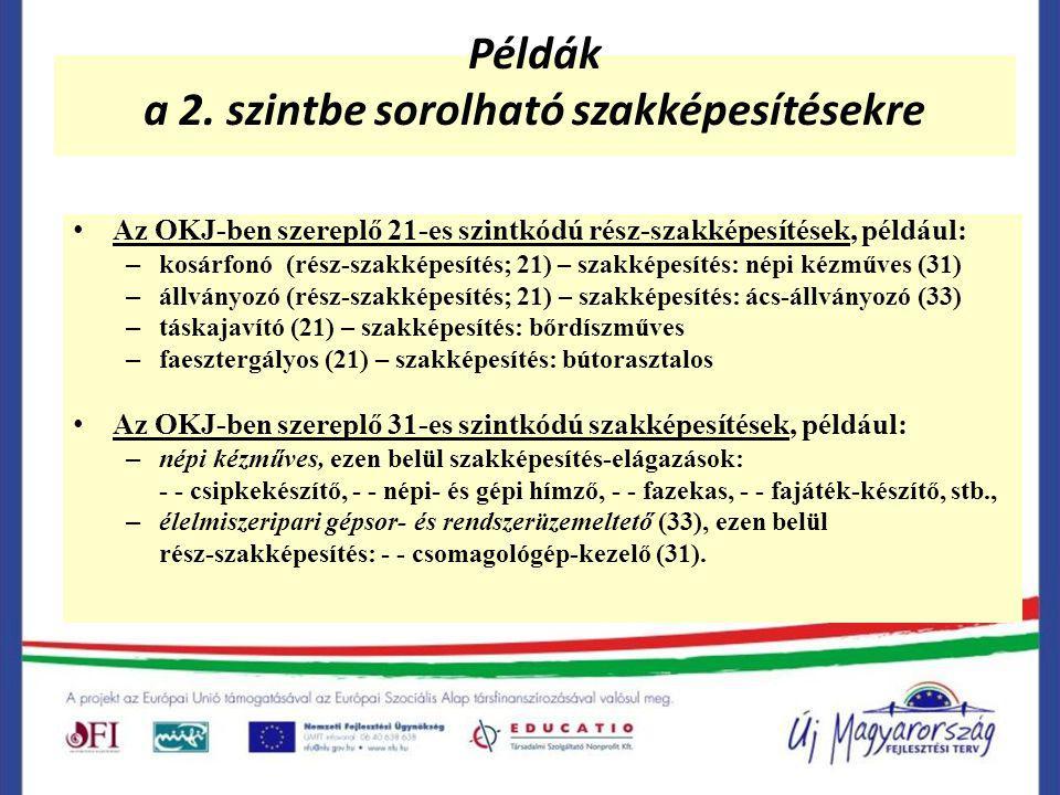 Példák a 2. szintbe sorolható szakképesítésekre Az OKJ-ben szereplő 21-es szintkódú rész-szakképesítések, például: – kosárfonó (rész-szakképesítés; 21