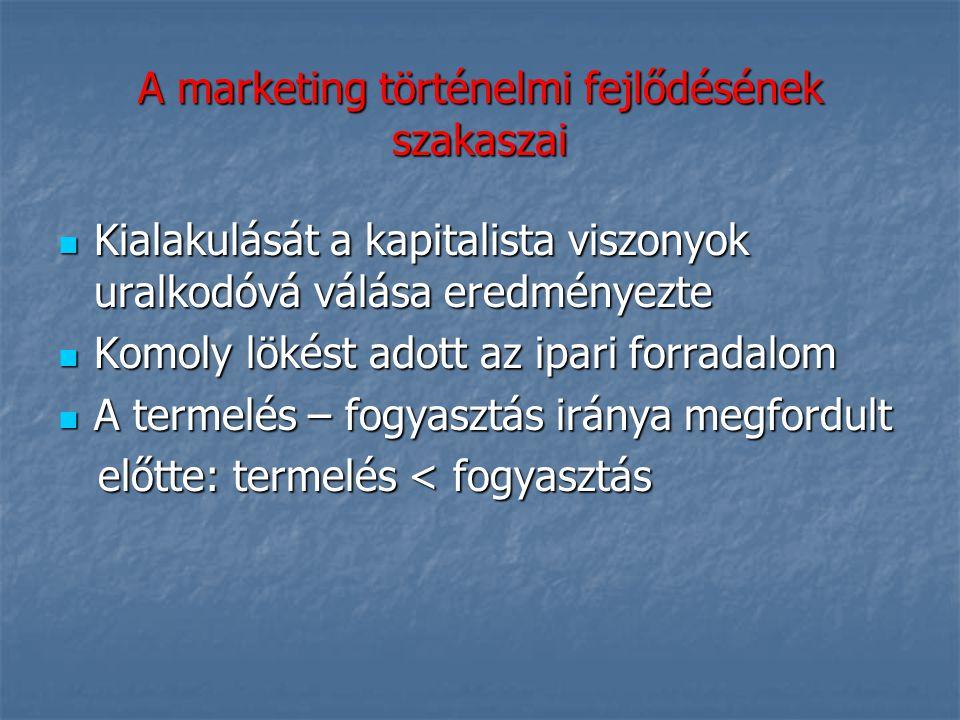 A marketing elméletének feladatai Alapot nyújt a piaci folyamatok és események mindenirányú ismeretéhez és a célok befolyásolásához Alapot nyújt a piaci folyamatok és események mindenirányú ismeretéhez és a célok befolyásolásához Információkat gyűjt, osztályoz és feldolgoz a termékelőállítás és a vevőkiszolgálás érdekében Információkat gyűjt, osztályoz és feldolgoz a termékelőállítás és a vevőkiszolgálás érdekében Módszertani segítséget ad a szakemberek számára a gyakorlati célok megvalósításához Módszertani segítséget ad a szakemberek számára a gyakorlati célok megvalósításához Elemző rendszerével segíti a gyors és hatásos gazdasági döntéseket.