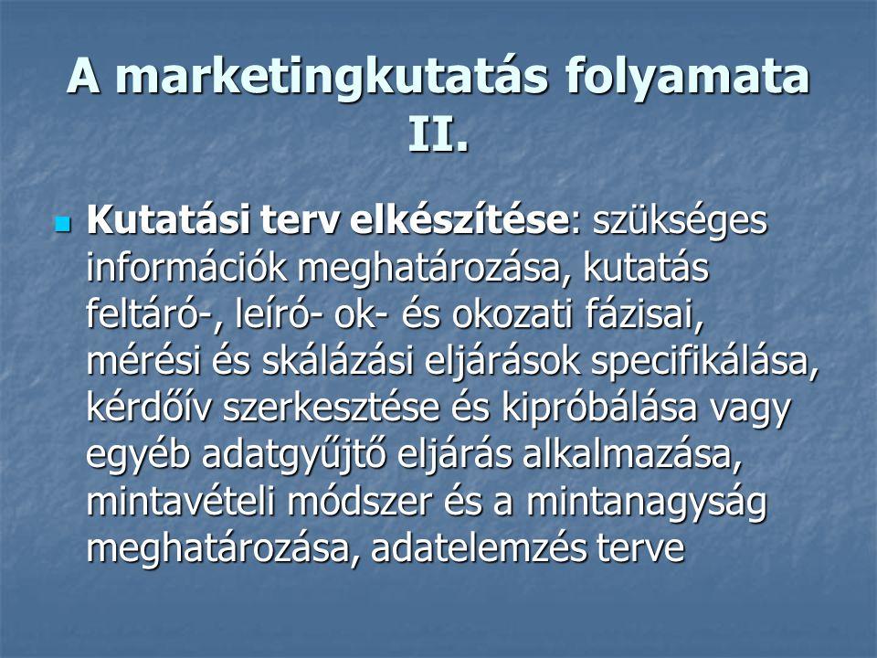A marketingkutatás folyamata I.