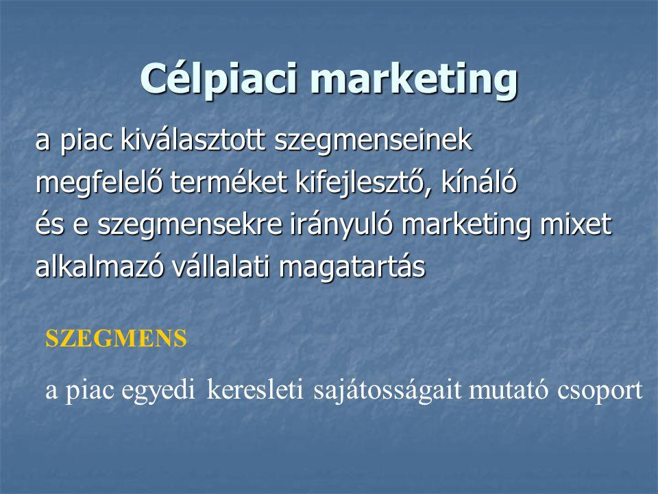 56 STP-modell Piacszegmentáció (S): Az eltérő termékeket és / vagy marketing mixet igénylő fogyasztói csoportok meghatározása Piacszegmentáció (S): Az eltérő termékeket és / vagy marketing mixet igénylő fogyasztói csoportok meghatározása Célpiac kiválasztás (T): A szegmensek kiválasztása, ahova be akarunk lépni Célpiac kiválasztás (T): A szegmensek kiválasztása, ahova be akarunk lépni Piaci pozicionálás (P): A termék előnyös tulajdonságainak, kulcsjellemzőinek megteremtése és közlése a piaccal Piaci pozicionálás (P): A termék előnyös tulajdonságainak, kulcsjellemzőinek megteremtése és közlése a piaccal