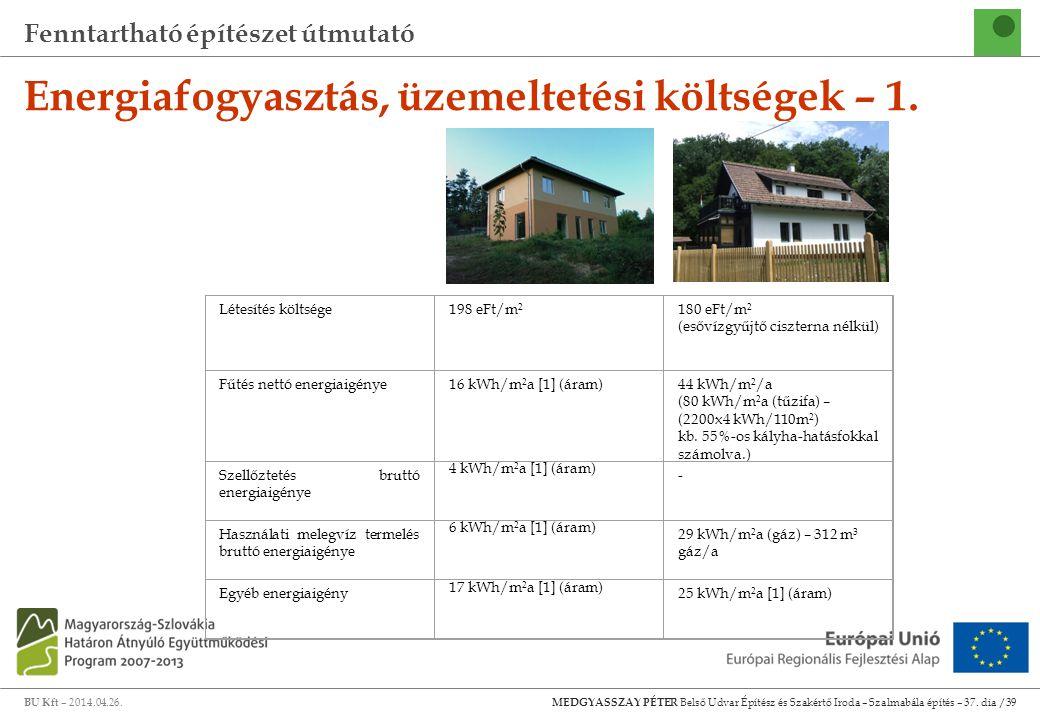 Fenntartható építészet útmutató BU Kft – 2014.04.26. MEDGYASSZAY PÉTER Belső Udvar Építész és Szakértő Iroda – Szalmabála építés – 37. dia /39 Energia