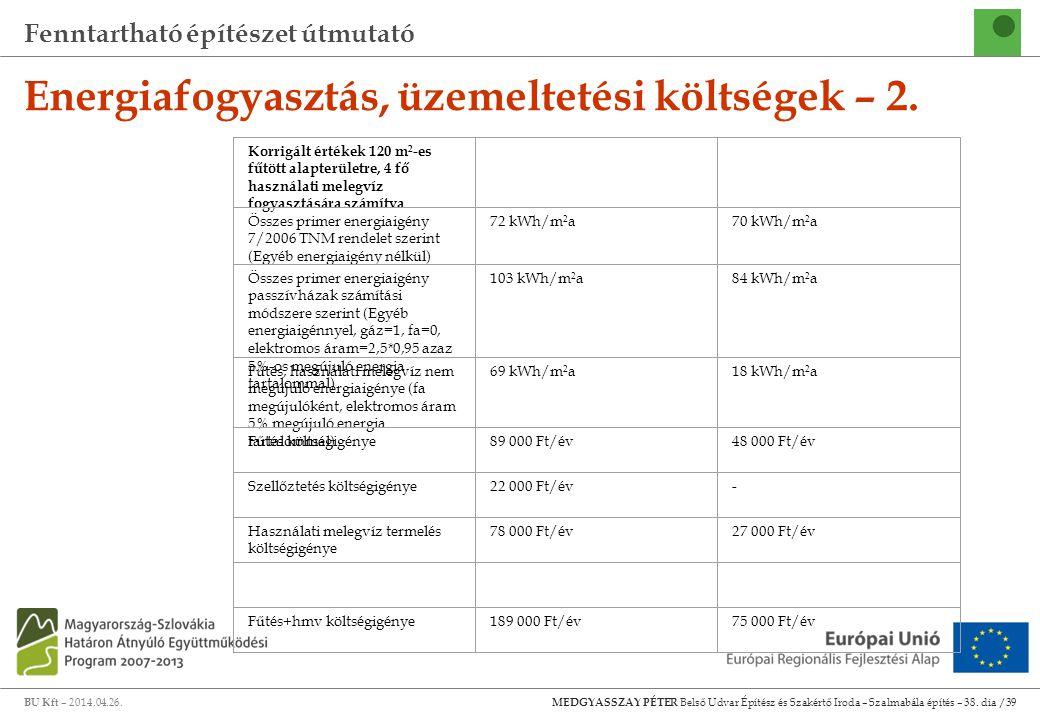 Fenntartható építészet útmutató BU Kft – 2014.04.26. MEDGYASSZAY PÉTER Belső Udvar Építész és Szakértő Iroda – Szalmabála építés – 38. dia /39 Energia