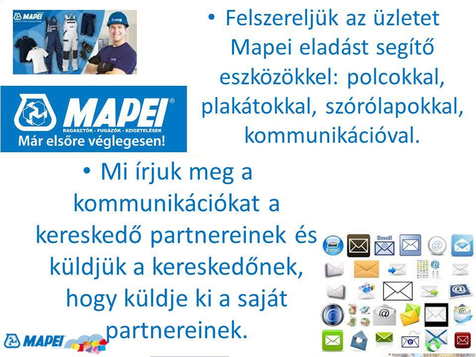 Felszereljük az üzletet Mapei eladást segítő eszközökkel: polcokkal, plakátokkal, szórólapokkal, kommunikációval.
