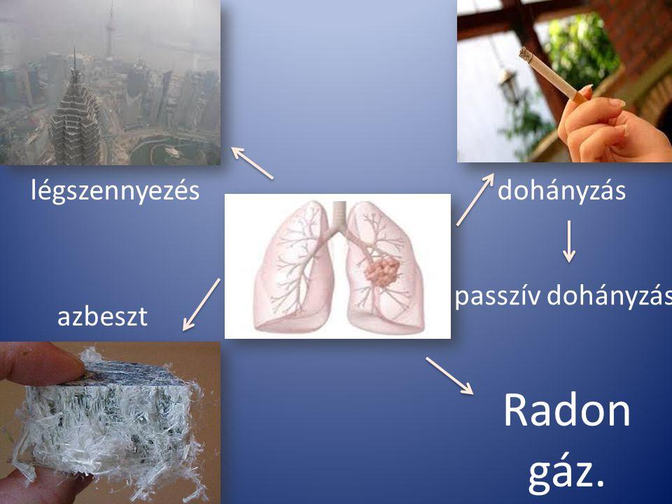 Radon gáz. légszennyezés azbeszt dohányzás passzív dohányzás