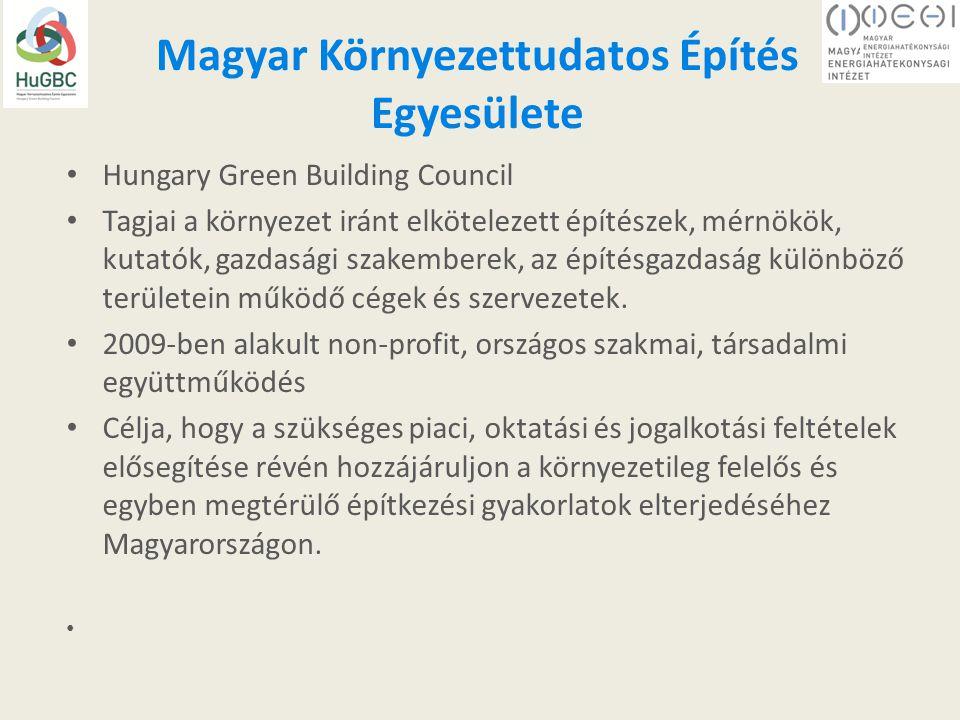 Magyar Környezettudatos Építés Egyesülete Hungary Green Building Council Tagjai a környezet iránt elkötelezett építészek, mérnökök, kutatók, gazdasági szakemberek, az építésgazdaság különböző területein működő cégek és szervezetek.