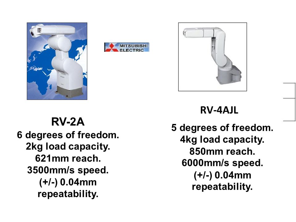 RV-4AJL 5 degrees of freedom. 4kg load capacity. 850mm reach. 6000mm/s speed. (+/-) 0.04mm repeatability. 4AJL RV-2A RV-2A 6 degrees of freedom. 2kg l