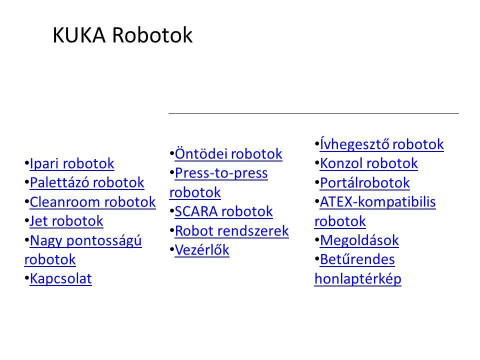 JET ROBOTOK (PORTÁLROBOTOK) A KUKA Jet (portálrobotok) sorozata, lineáris egységek és csuklós robotok kombinációja KR 1000 TITAN A KR 1000 a piacon kapható egyik legerősebb és legnagyobb 6 tengelyes robot.