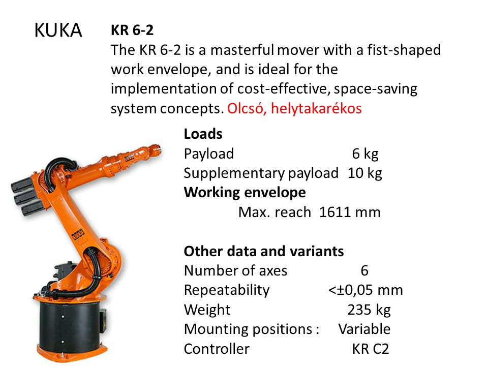 KUKA KR 6-2 The KR 6-2 is a masterful mover with a fist-shaped work envelope, and is ideal for the implementation of cost-effective, space-saving system concepts.
