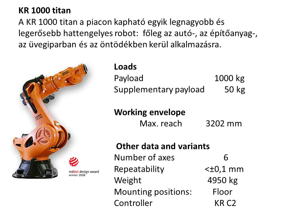 Loads Payload 1000 kg Supplementary payload 50 kg Working envelope Max. reach 3202 mm Other data and variants Number of axes 6 Repeatability <±0,1 mm