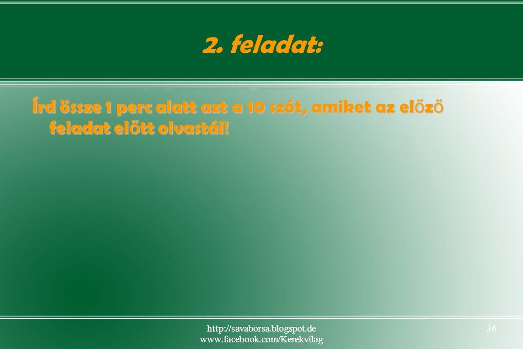 http://savaborsa.blogspot.de www.facebook.com/Kerekvilag 36 2.