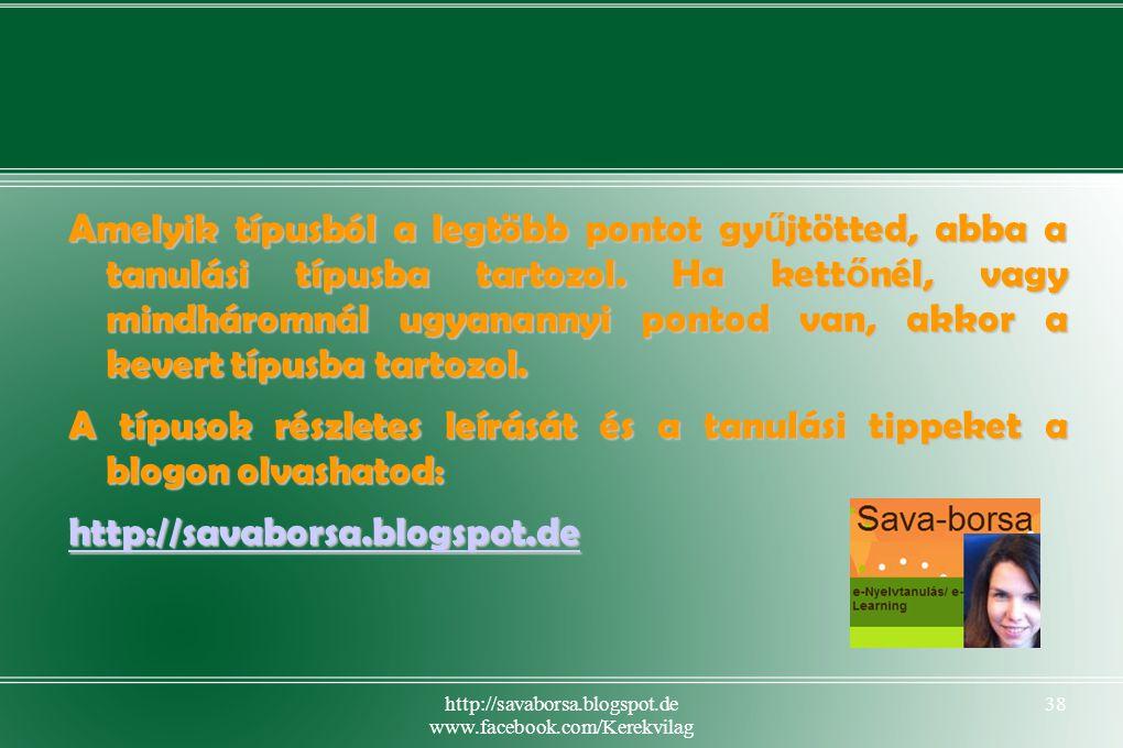 http://savaborsa.blogspot.de www.facebook.com/Kerekvilag 38 Amelyik típusból a legtöbb pontot gy ű jtötted, abba a tanulási típusba tartozol.