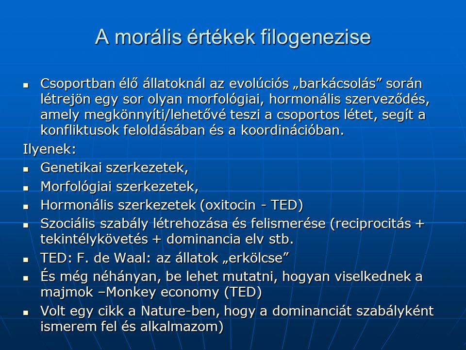 """A morális értékek filogenezise Csoportban élő állatoknál az evolúciós """"barkácsolás"""" során létrejön egy sor olyan morfológiai, hormonális szerveződés,"""