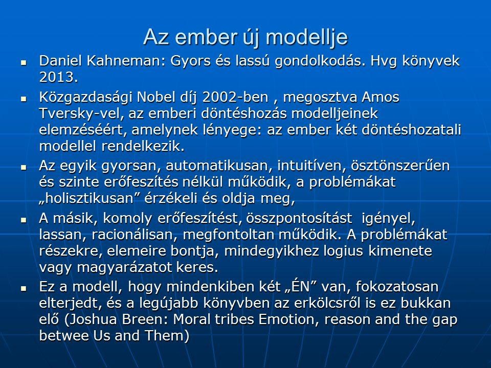 Az ember új modellje Daniel Kahneman: Gyors és lassú gondolkodás. Hvg könyvek 2013. Daniel Kahneman: Gyors és lassú gondolkodás. Hvg könyvek 2013. Köz