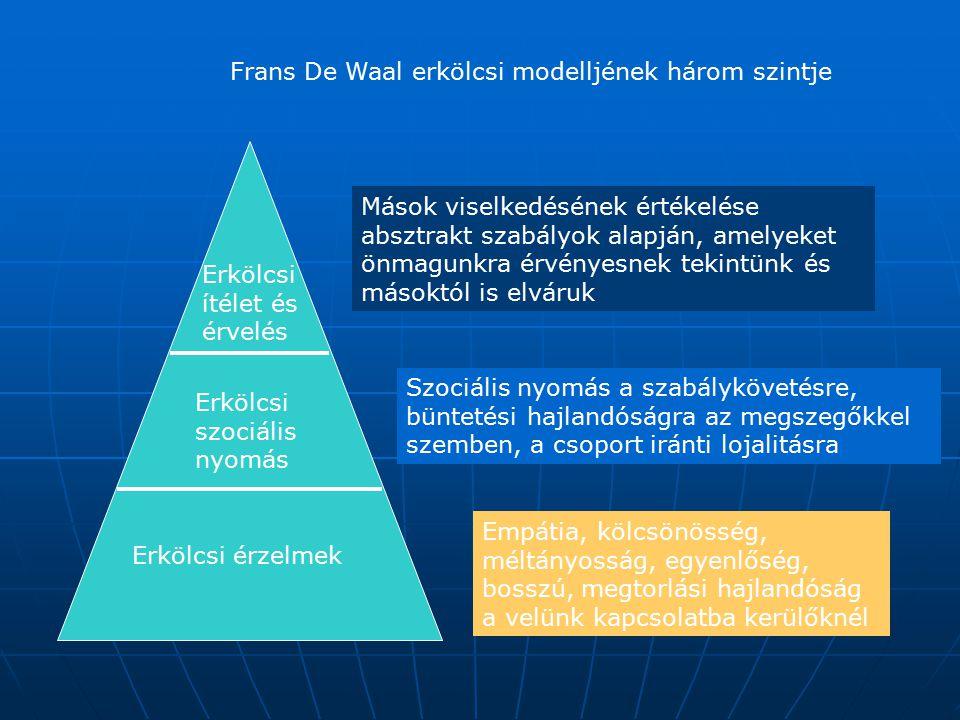Frans De Waal erkölcsi modelljének három szintje Erkölcsi érzelmek Erkölcsi szociális nyomás Erkölcsi ítélet és érvelés Empátia, kölcsönösség, méltány