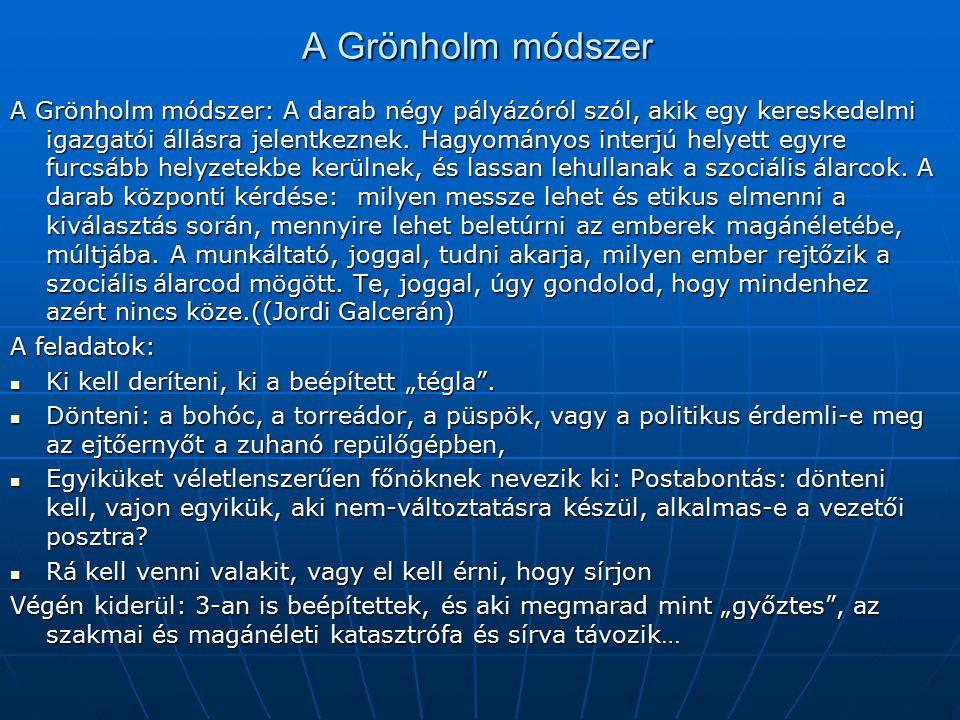 A Grönholm módszer A Grönholm módszer: A darab négy pályázóról szól, akik egy kereskedelmi igazgatói állásra jelentkeznek. Hagyományos interjú helyett