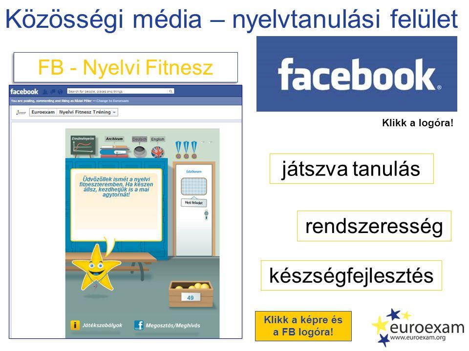 Közösségi média – nyelvtanulási felület FB - Nyelvi Fitnesz játszva tanulás rendszeresség készségfejlesztés Klikk a logóra.