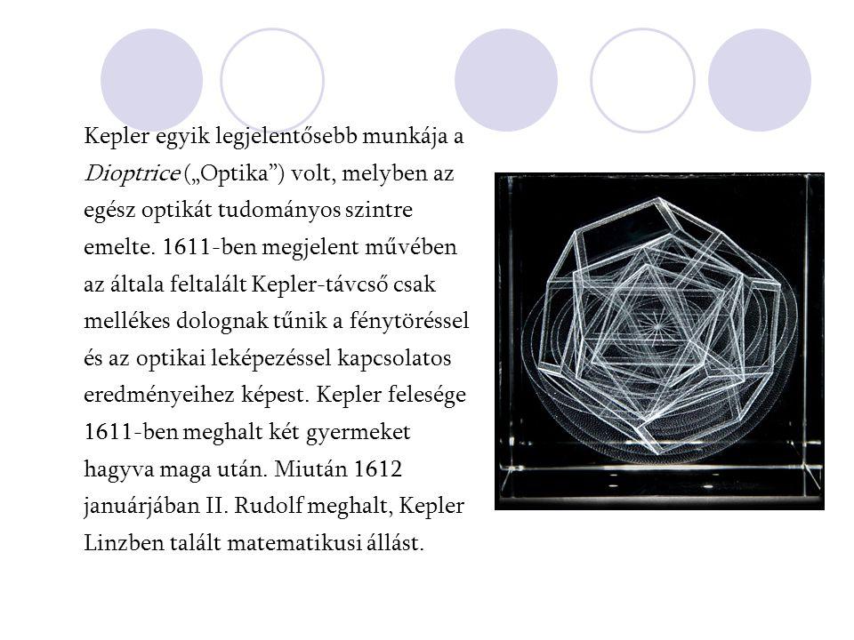 """Kepler egyik legjelentősebb munkája a Dioptrice (""""Optika"""") volt, melyben az egész optikát tudományos szintre emelte. 1611-ben megjelent művében az ált"""