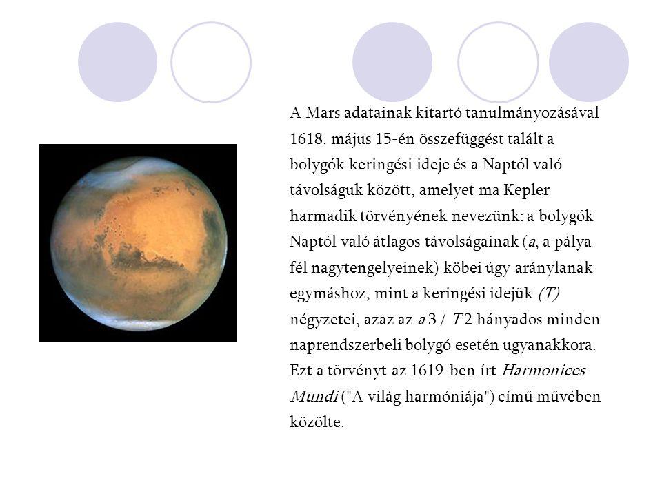 A Mars adatainak kitartó tanulmányozásával 1618. május 15-én összefüggést talált a bolygók keringési ideje és a Naptól való távolságuk között, amelyet