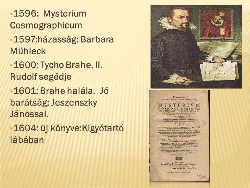 1609: Új csillagászat című könyve ( két törvény)  Legjelentősebb munkája: Optika  1611: Kepler felesége meghal, két gyermek  1618.