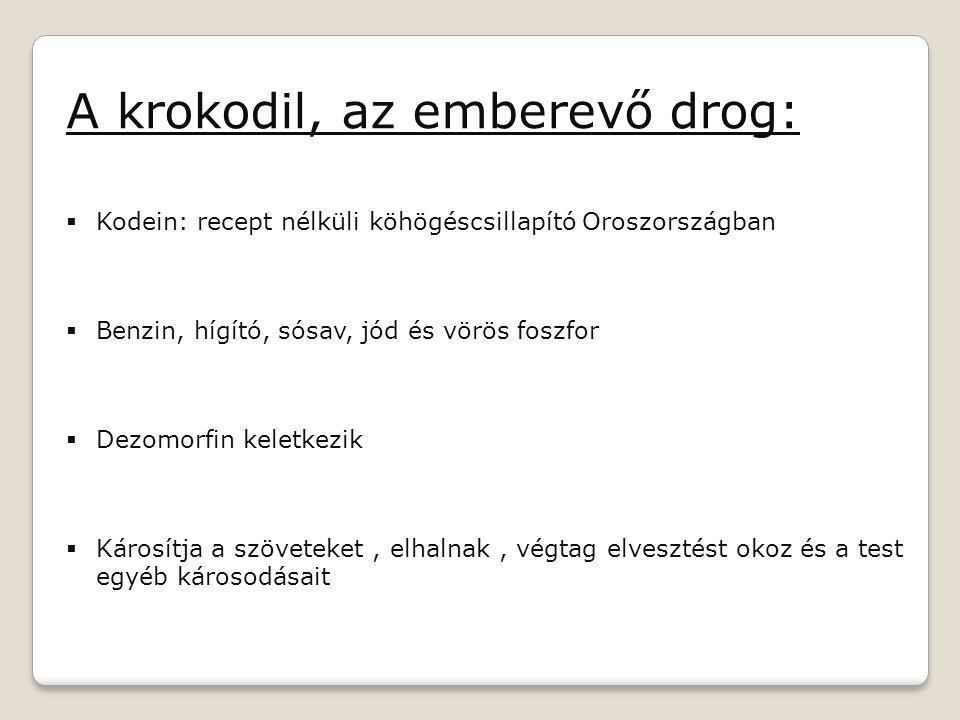 A krokodil, az emberevő drog:  Kodein: recept nélküli köhögéscsillapító Oroszországban  Benzin, hígító, sósav, jód és vörös foszfor  Dezomorfin kel