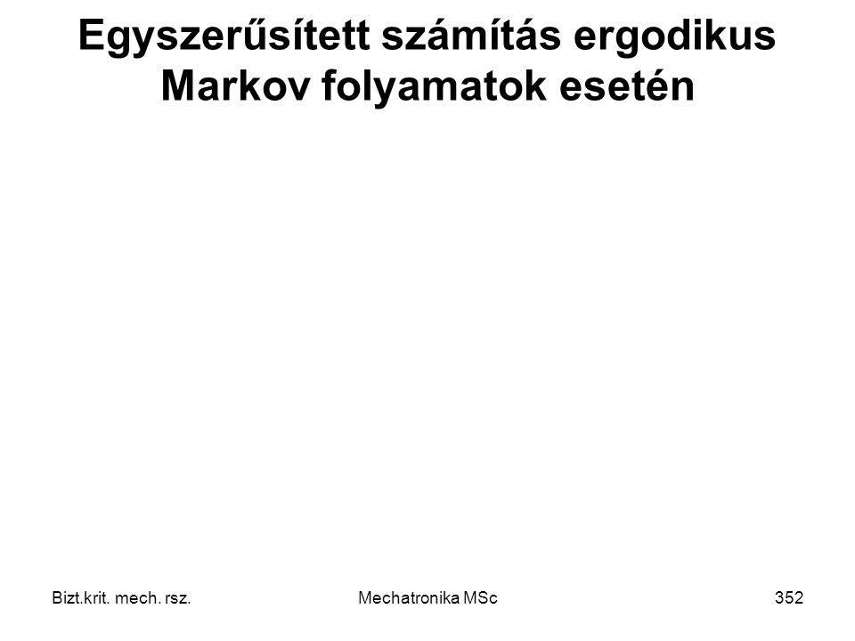 Bizt.krit. mech. rsz.Mechatronika MSc352 Egyszerűsített számítás ergodikus Markov folyamatok esetén