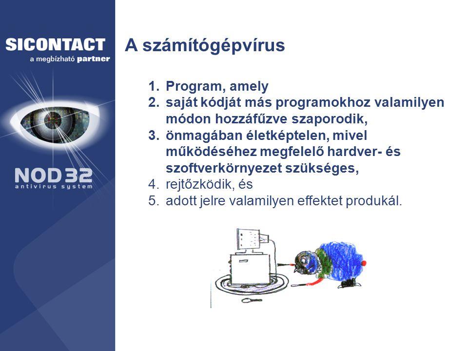 A számítógépvírus 1.Program, amely 2.saját kódját más programokhoz valamilyen módon hozzáfűzve szaporodik, 3.önmagában életképtelen, mivel működéséhez