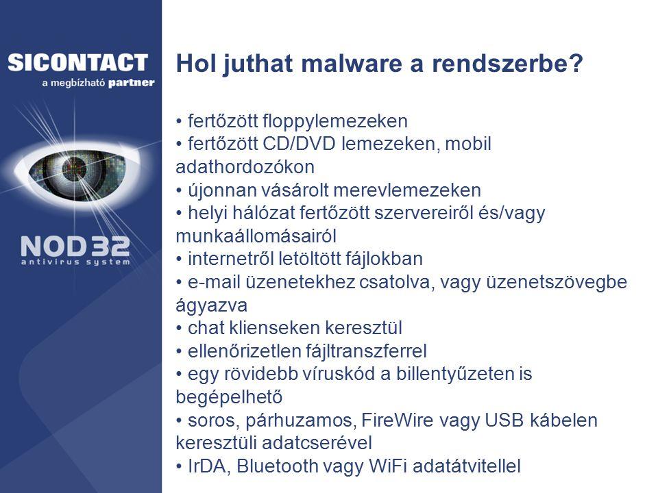 Hol juthat malware a rendszerbe? fertőzött floppylemezeken fertőzött CD/DVD lemezeken, mobil adathordozókon újonnan vásárolt merevlemezeken helyi háló