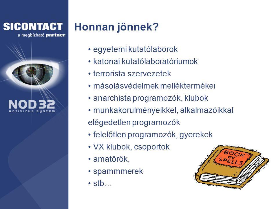 Védelmek Megelőző védelmek –tűzfal(ak), tartalomszűrés –vírusgátak –biztonsági másolat (működő helyreállítással!) –változásdetektorok, immunizálás, fehér- és tiltólistá –tudatos gép-, szoftver- és internet használat Helyreállító védelmek –víruskeresők, eltávolítók