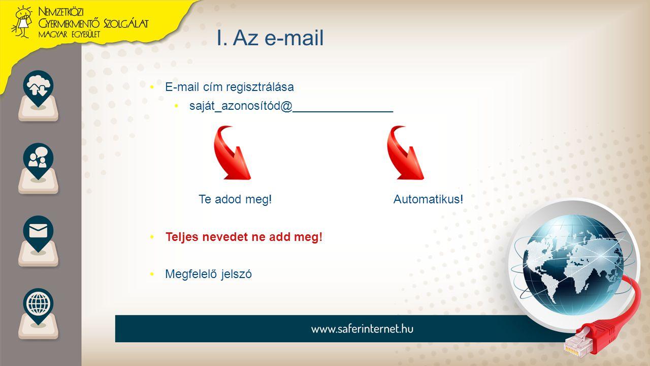 I. Az e-mail E-mail cím regisztrálása saját_azonosítód@_______________ Te adod meg!Automatikus! Teljes nevedet ne add meg! Megfelelő jelszó