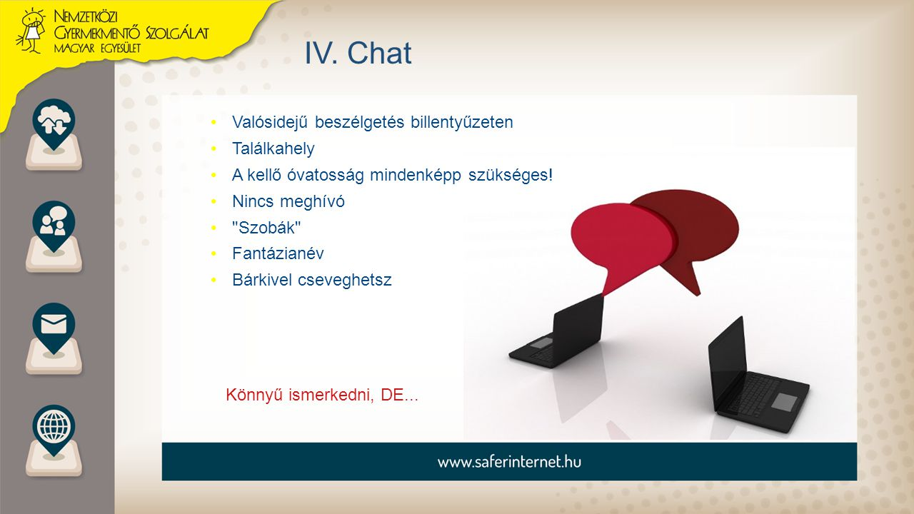 IV. Chat Valósidejű beszélgetés billentyűzeten Találkahely A kellő óvatosság mindenképp szükséges! Nincs meghívó