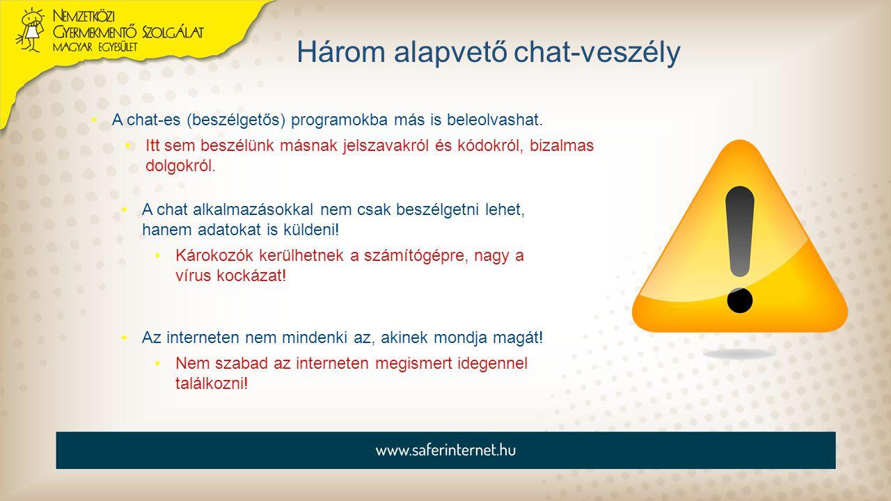 Három alapvető chat-veszély A chat-es (beszélgetős) programokba más is beleolvashat. Itt sem beszélünk másnak jelszavakról és kódokról, bizalmas dolgo