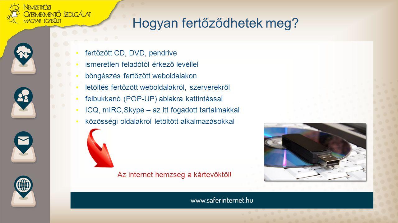 Hogyan fertőződhetek meg? fertőzött CD, DVD, pendrive ismeretlen feladótól érkező levéllel böngészés fertőzött weboldalakon letöltés fertőzött webolda