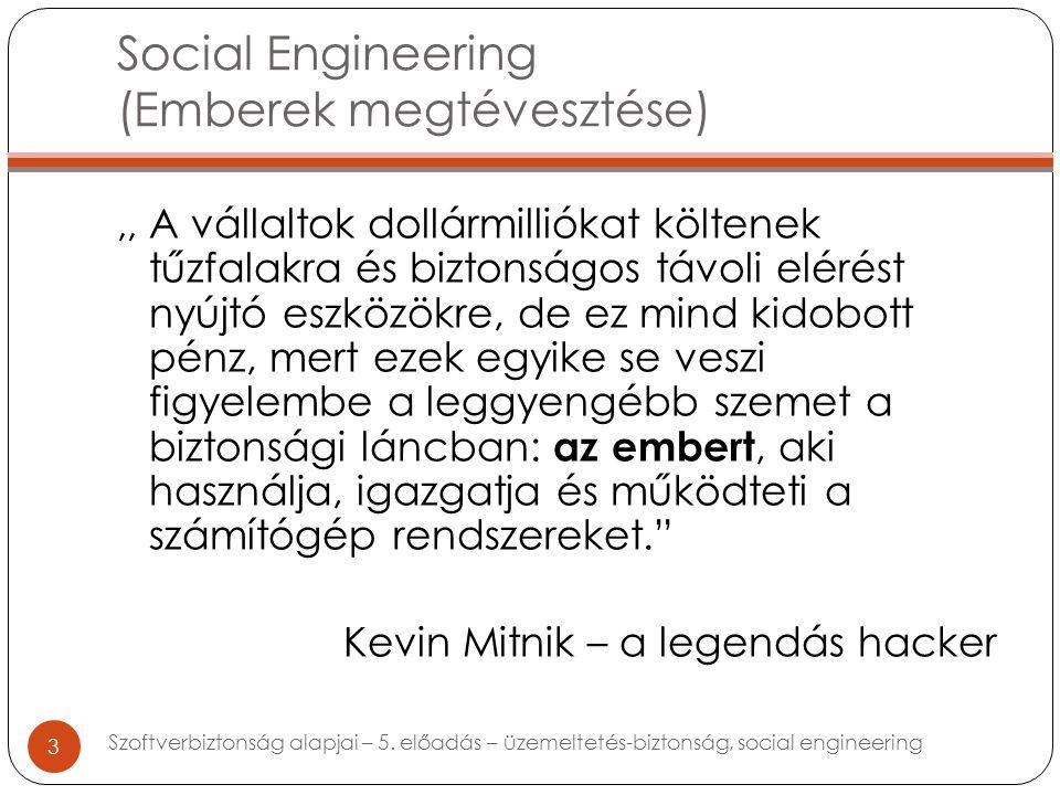 Social Engineering (Emberek megtévesztése),, A vállaltok dollármilliókat költenek tűzfalakra és biztonságos távoli elérést nyújtó eszközökre, de ez mind kidobott pénz, mert ezek egyike se veszi figyelembe a leggyengébb szemet a biztonsági láncban: az embert, aki használja, igazgatja és működteti a számítógép rendszereket. Kevin Mitnik – a legendás hacker 3 Szoftverbiztonság alapjai – 5.