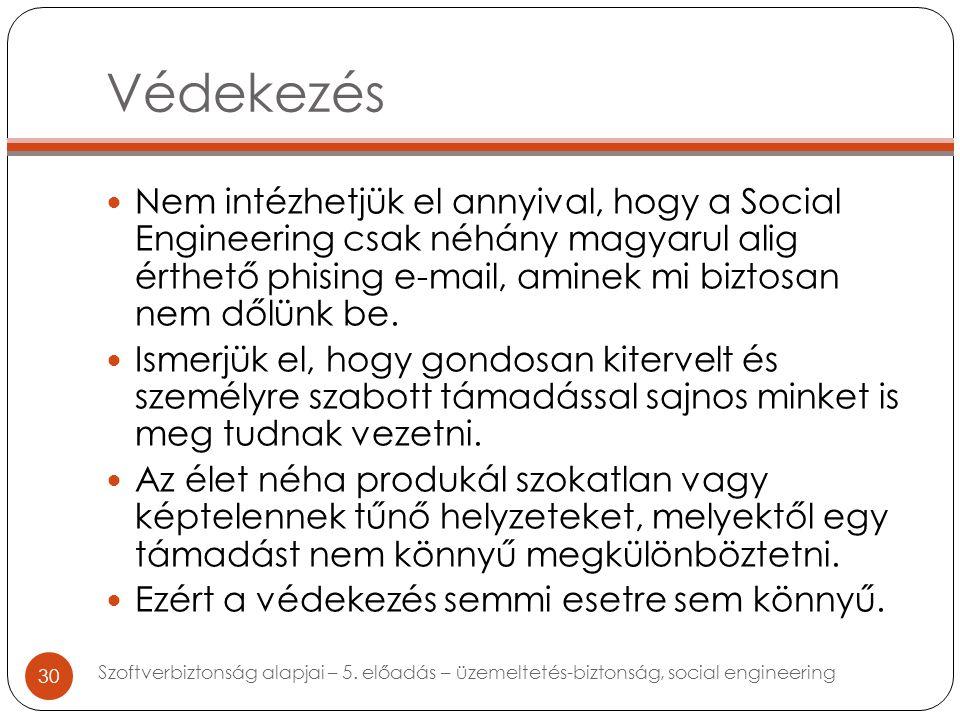 Védekezés Nem intézhetjük el annyival, hogy a Social Engineering csak néhány magyarul alig érthető phising e-mail, aminek mi biztosan nem dőlünk be.