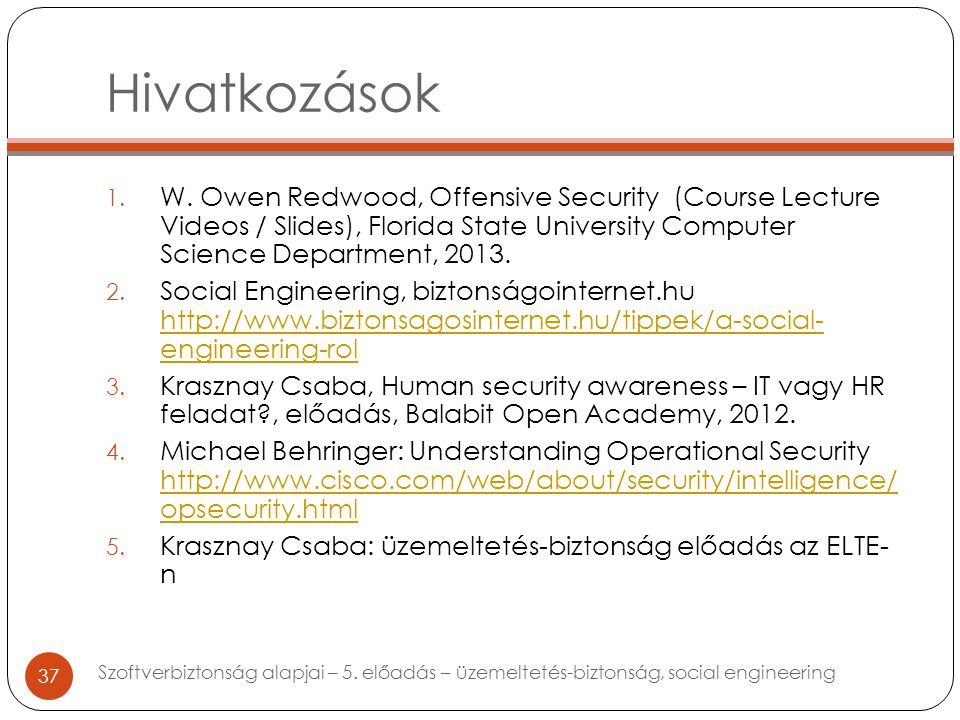 Hivatkozások 1. W. Owen Redwood, Offensive Security (Course Lecture Videos / Slides), Florida State University Computer Science Department, 2013. 2. S
