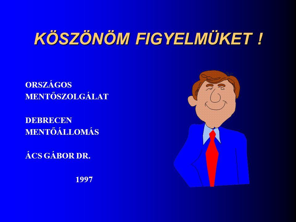 KÖSZÖNÖM FIGYELMÜKET ! ORSZÁGOS MENTŐSZOLGÁLAT DEBRECEN MENTŐÁLLOMÁS ÁCS GÁBOR DR. 1997