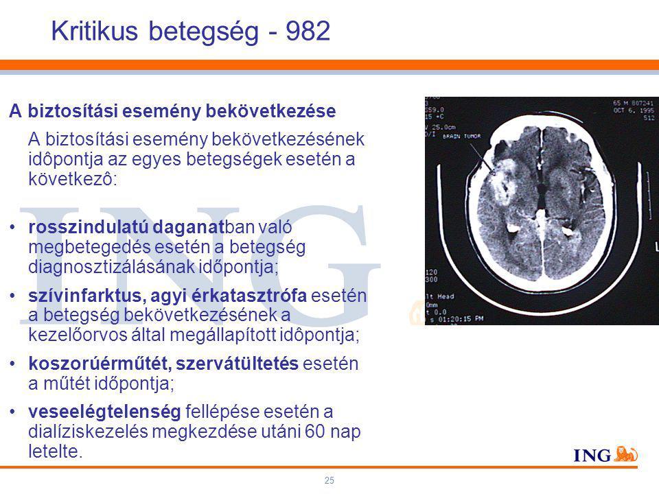25 Kritikus betegség - 982 A biztosítási esemény bekövetkezése A biztosítási esemény bekövetkezésének idôpontja az egyes betegségek esetén a következô: rosszindulatú daganatban való megbetegedés esetén a betegség diagnosztizálásának időpontja; szívinfarktus, agyi érkatasztrófa esetén a betegség bekövetkezésének a kezelőorvos által megállapított idôpontja; koszorúérműtét, szervátültetés esetén a műtét időpontja; veseelégtelenség fellépése esetén a dialíziskezelés megkezdése utáni 60 nap letelte.