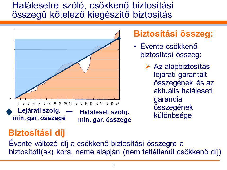 73 Halálesetre szóló, csökkenő biztosítási összegű kötelező kiegészítő biztosítás Biztosítási összeg: Évente csökkenő biztosítási összeg:  Az alapbiztosítás lejárati garantált összegének és az aktuális haláleseti garancia összegének különbsége Évente változó díj a csökkenő biztosítási összegre a biztosított(ak) kora, neme alapján (nem feltétlenül csökkenő díj) € 12345678910111213141516171819 20 Lejárati szolg.