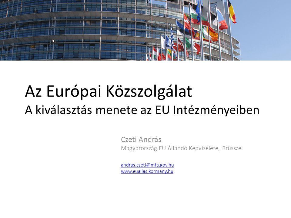 Az Európai Közszolgálat A kiválasztás menete az EU Intézményeiben Czeti András Magyarország EU Állandó Képviselete, Brüsszel andras.czeti@mfa.gov.hu w
