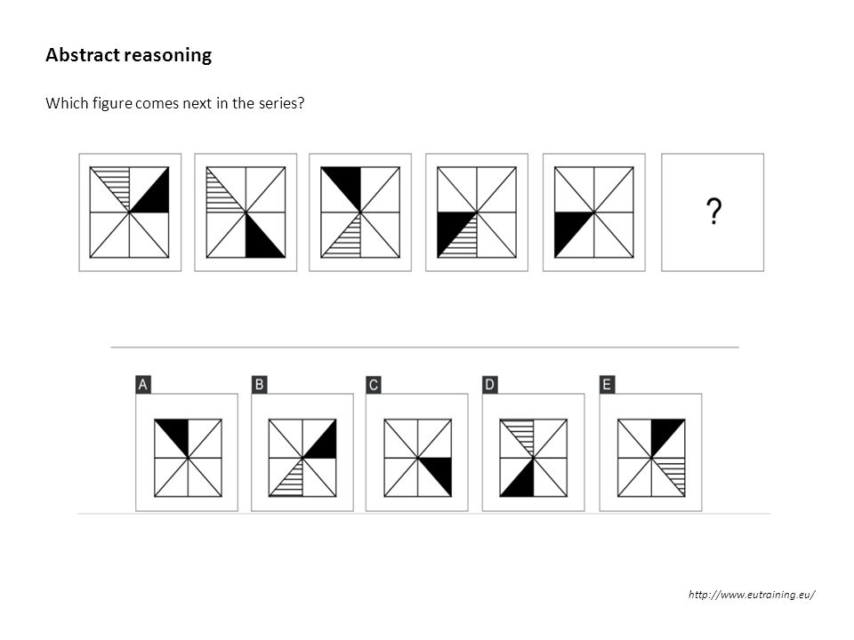 Abstract reasoning Which figure comes next in the series? http://www.eutraining.eu/