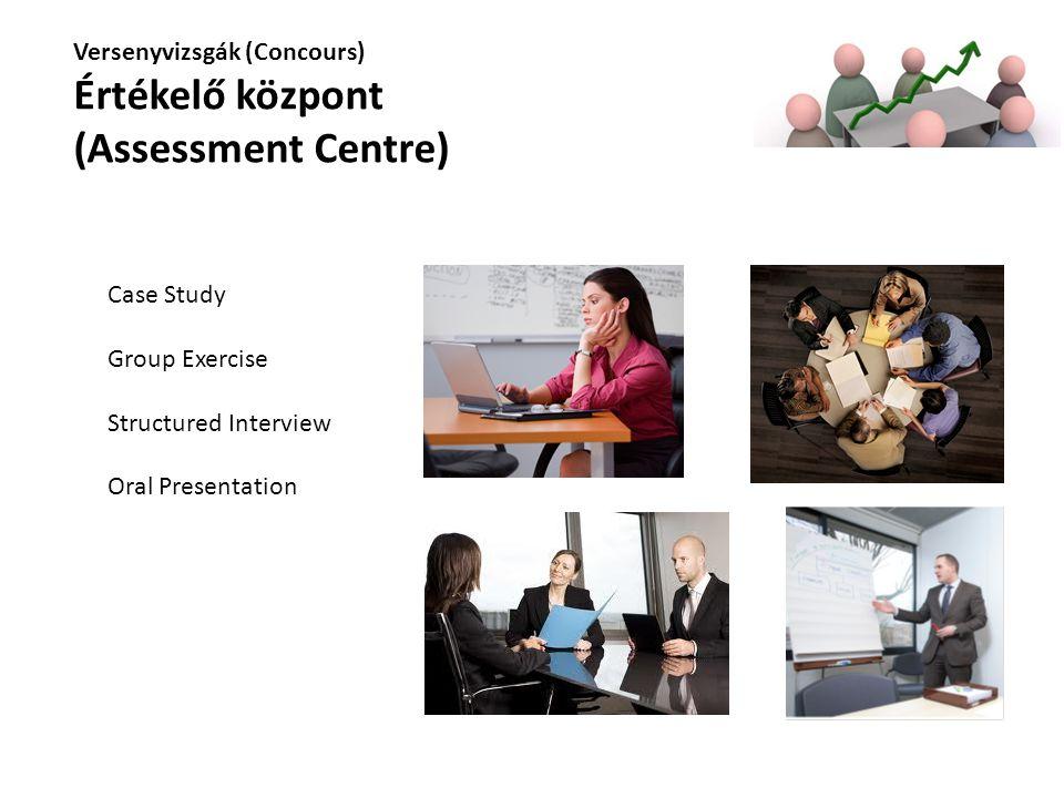 Versenyvizsgák (Concours) Értékelő központ (Assessment Centre) Case Study Group Exercise Structured Interview Oral Presentation