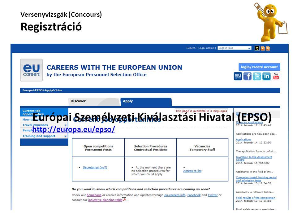 Európai Személyzeti Kiválasztási Hivatal (EPSO) http://europa.eu/epso/ Versenyvizsgák (Concours) Regisztráció