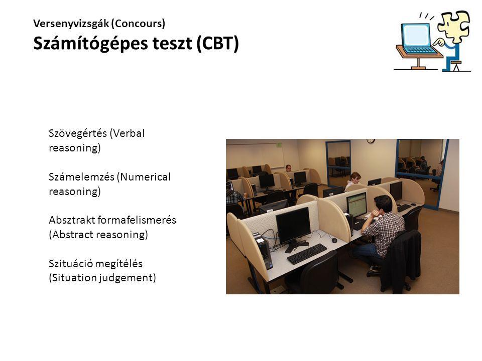 Versenyvizsgák (Concours) Számítógépes teszt (CBT) Szövegértés (Verbal reasoning) Számelemzés (Numerical reasoning) Absztrakt formafelismerés (Abstrac