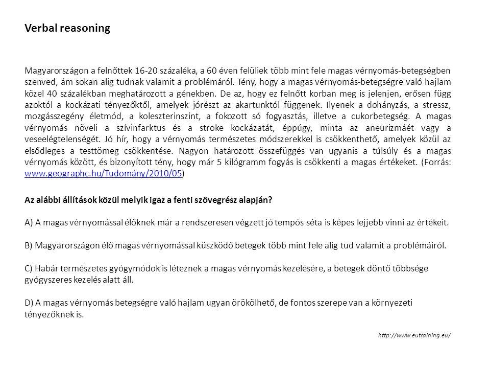 Verbal reasoning Magyarországon a felnőttek 16-20 százaléka, a 60 éven felüliek több mint fele magas vérnyomás-betegségben szenved, ám sokan alig tudn