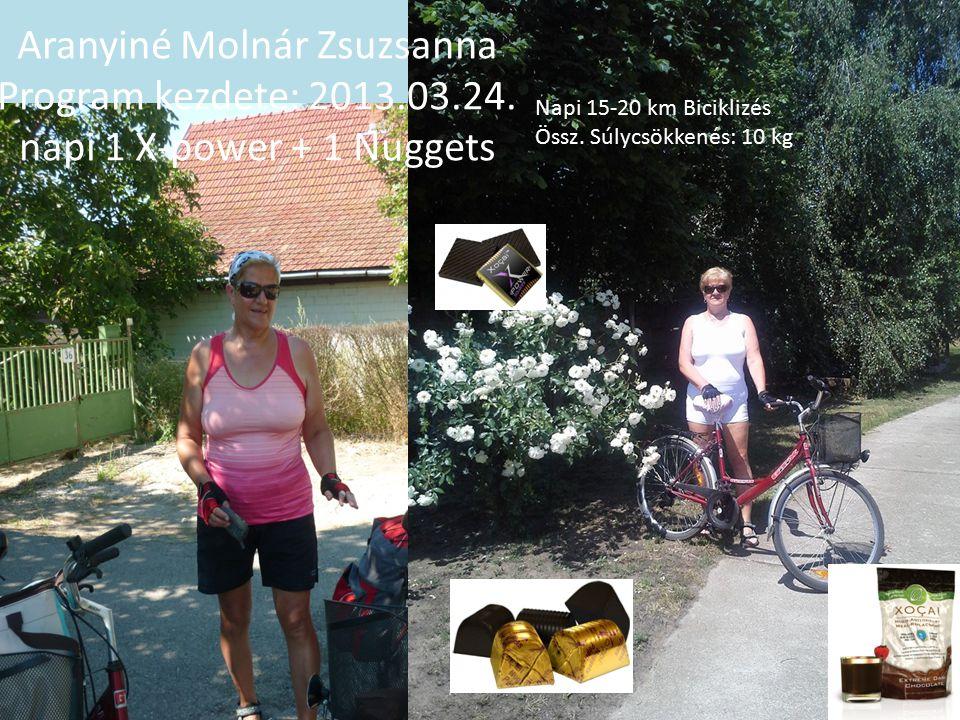 Napi 15-20 km Biciklizés Össz. Súlycsökkenés: 10 kg Aranyiné Molnár Zsuzsanna Program kezdete: 2013.03.24. napi 1 X-power + 1 Nuggets